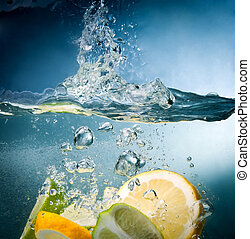 citrus fall into the water - citrus fruits fall into the...