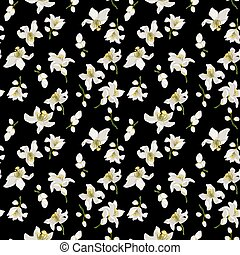 Citrus flowers seamless pattern with flowers and buds of citrus trees such as mandarin, lemon, orange and lime