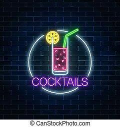 citrus., frame., cóctel, gas, letrero de gas de neón, vidrio...