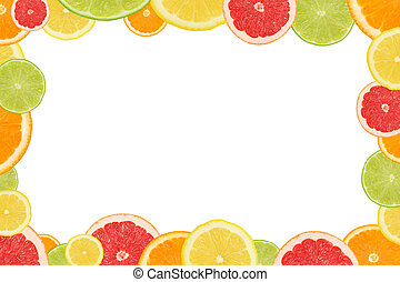 Natural frame made from different citrus fruits cross sections