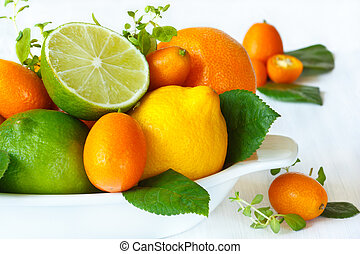 Fresh citrus fruit with leaves in a white ceramic bowl close-up.