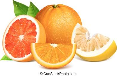 citrus, fris, leaves., vruchten