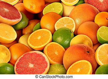 Citrus Fruit - Citrus fruit background with a group of...