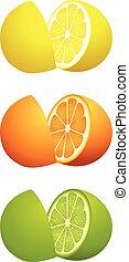 Citrus fruit cut in half