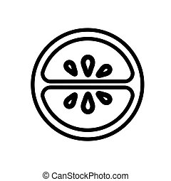 Citrus fruit cut in half, simple black and white outline icon. Flat vector illustration. Isolated on white.