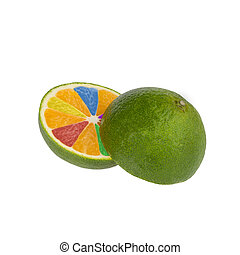 citrus fruit cut with a multi-colored slices