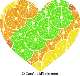 citrus fruit heart. Isolated on white. Vector