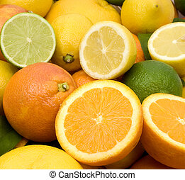 Lemon, lime, orange, tangerine and grapefruit fruit background