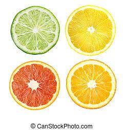 Citrus fruit. Orange, lemon, lime, grapefruit. Slices...