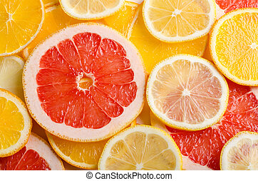 Citrus fruit slices of lemon, orange, grapefruit for background.