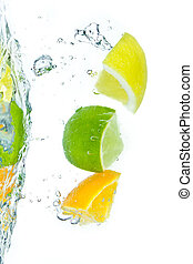 citrus fruit splashing