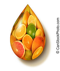 Citrus Fruit Symbol - Citrus fruit symbol with a group of...