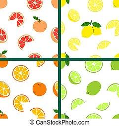 Citrus fruits collection. Lemon, lime, orange, grapefruit. Fruit background, wallpaper. Vitamin C. Vector set of bright modern seamless patterns. Endless texture, positive print in flat cartoon style