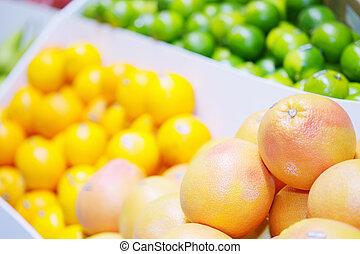 Citrus fruits in shop