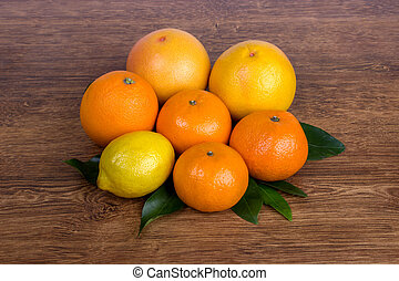 Citrus fruits orange, lemon, grapefruit, mandarin, lime
