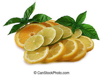 Citrus Fruits - Sliced oranges, lemons and limes