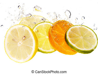 Splash slice of citrus to water