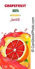 Citrus grapefruit vertical banner design packaging