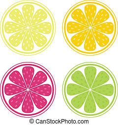 citrus gyümölcsök, háttér, vektor, -, citrom, lime, és,...