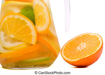 Citrus Ice Water - Orange and carafe with citrus ice water