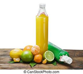 citrus juice bottle on a white