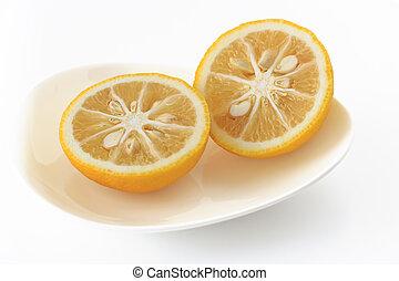 citrus, junos, fond blanc