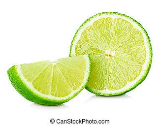 Citrus lime fruit half isolated on white background