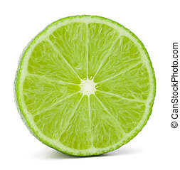 Citrus lime fruit half isolated on white background cutout -...