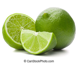 Citrus lime fruit isolated on white background cutout -...