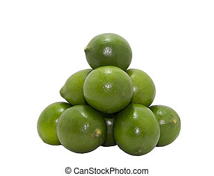 Citrus limes fruit isolated on white background cutout