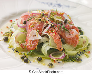 Citrus marinated Salmon with Cucumber Salad