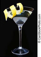Citrus Martini - Martini cocktail on black with twist of...
