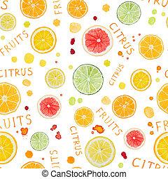 citrus, modèle, fruit, aquarelle, seamless