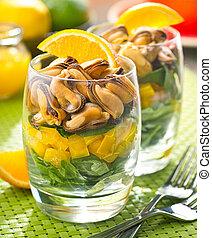 citrus, moule, Posé couches, salade,  vinaigrette