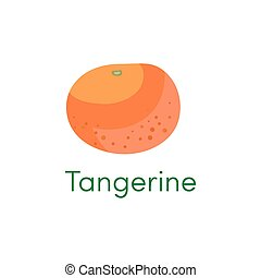 citrus, objet, mandarine, isolé, illustration, dessin animé, arrière-plan., fruit, vecteur, orange, blanc, mandarin, icon.