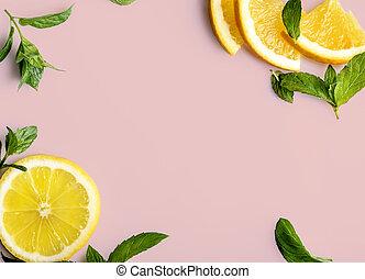Citrus on retro pink background