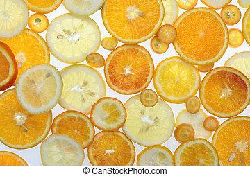 citrus over white background