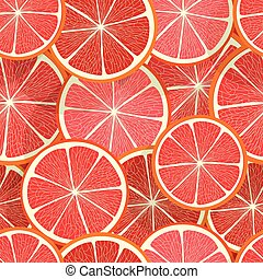 citrus, pamplemousse, pattern., seamless, vecteur