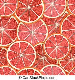 citrus, pamplemousse, pattern., seamless, vecteur