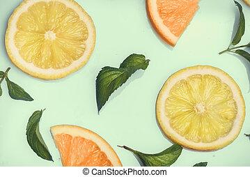 Citrus pattern on retro mint background
