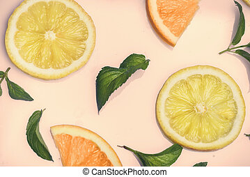 Citrus pattern on retro pink background