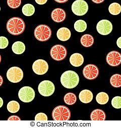 citrus, pattern., seamless, coupé, arrière-plan noir, fruits