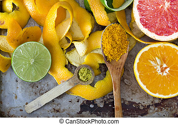 Citrus peels, orange, lemon and grapefruit