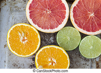Citrus peels, orange, lemon and grapefruit