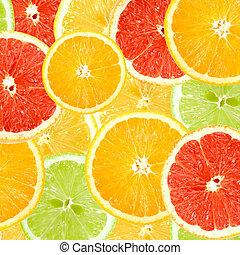 citrus, résumé, fond, tranches