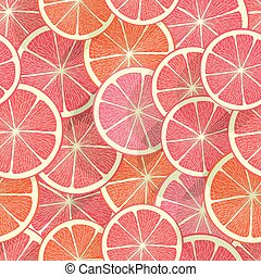 Citrus seamless background. Grapefruit