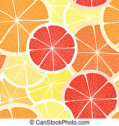 Grapefruit, lemon and orange - Citrus seamless background....