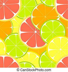 Citrus slices seamless pattern. Vector illustration