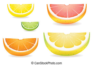 Citrus slice variety - A selection of citrus fruit slices in...