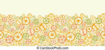 Citrus slices horizontal seamless pattern background border